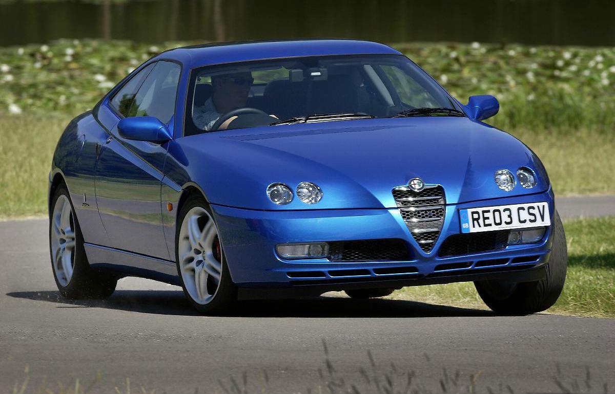 image of a vintage blue alfa romeo gtv car exterior