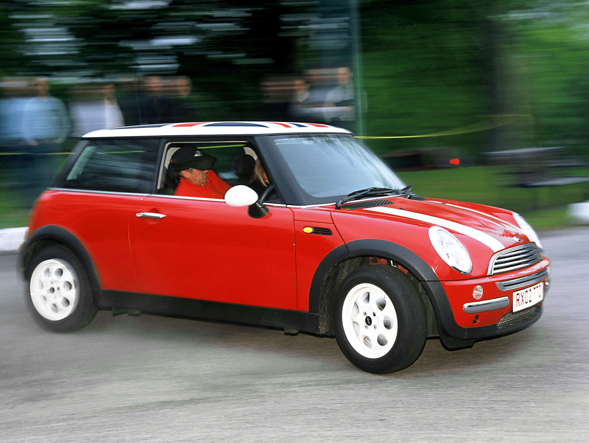 image of a red and white mini cooper car exterior