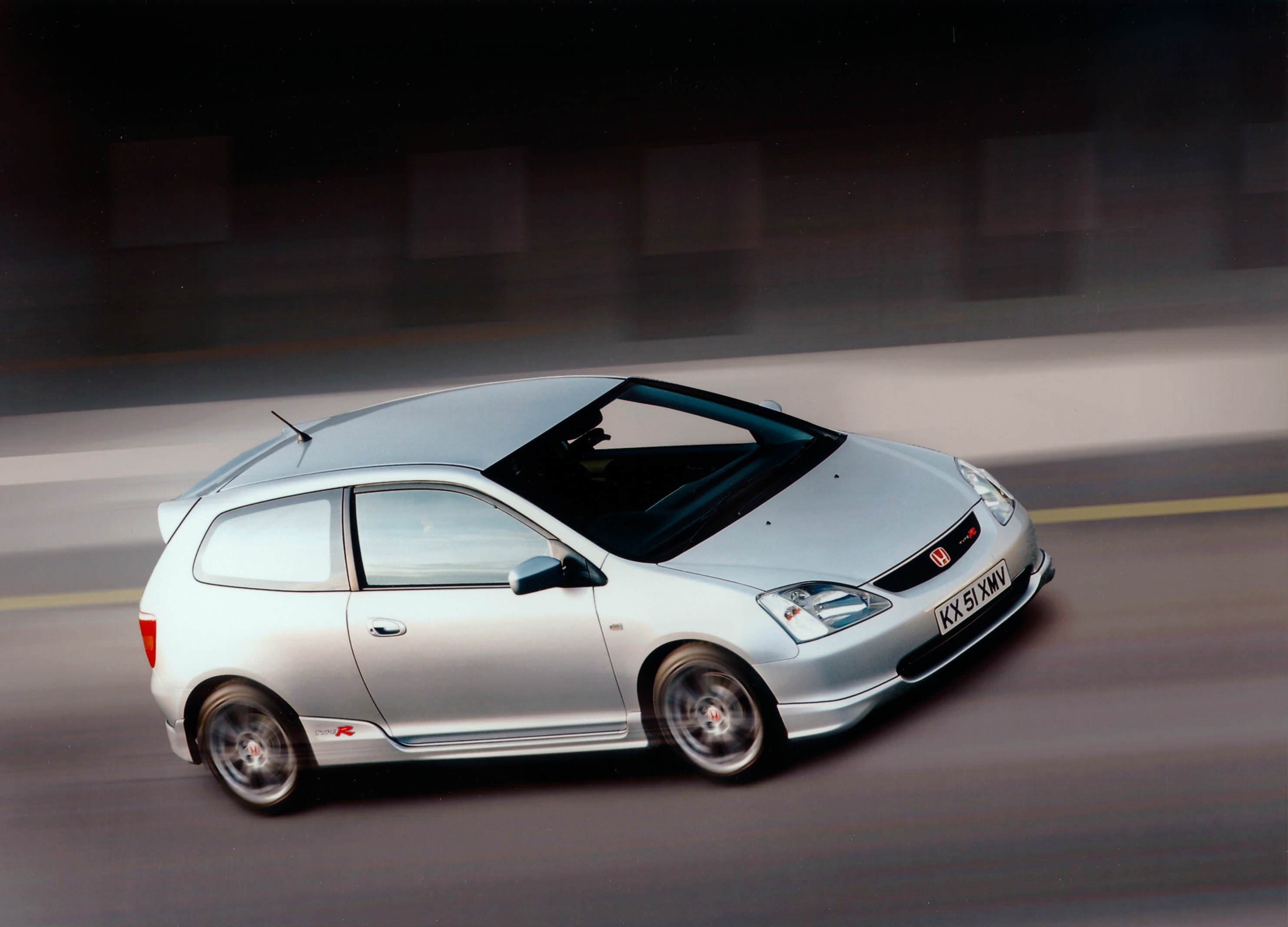 image of a silver honda civic type r car exterior