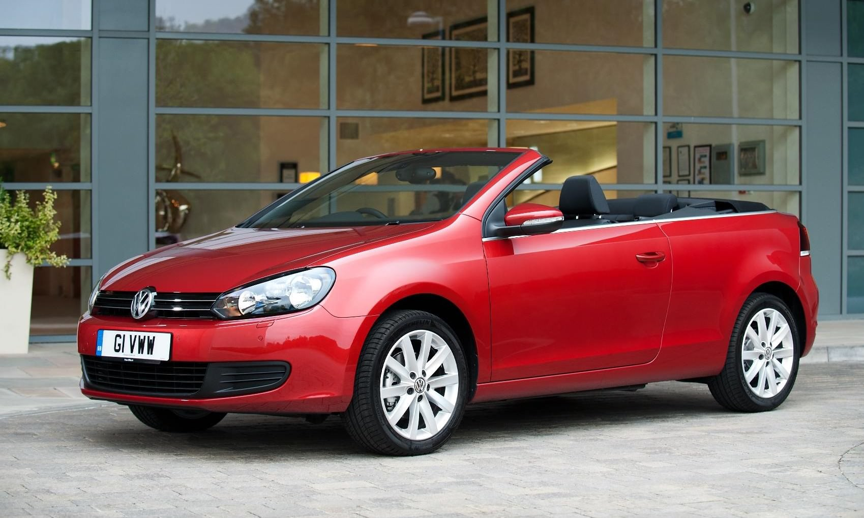 image of a red volkswagen golf cabrio convertible car exterior