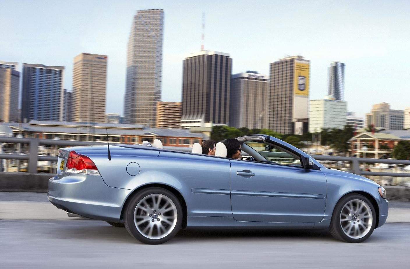 image of a silver volvo c70 convertible car exterior