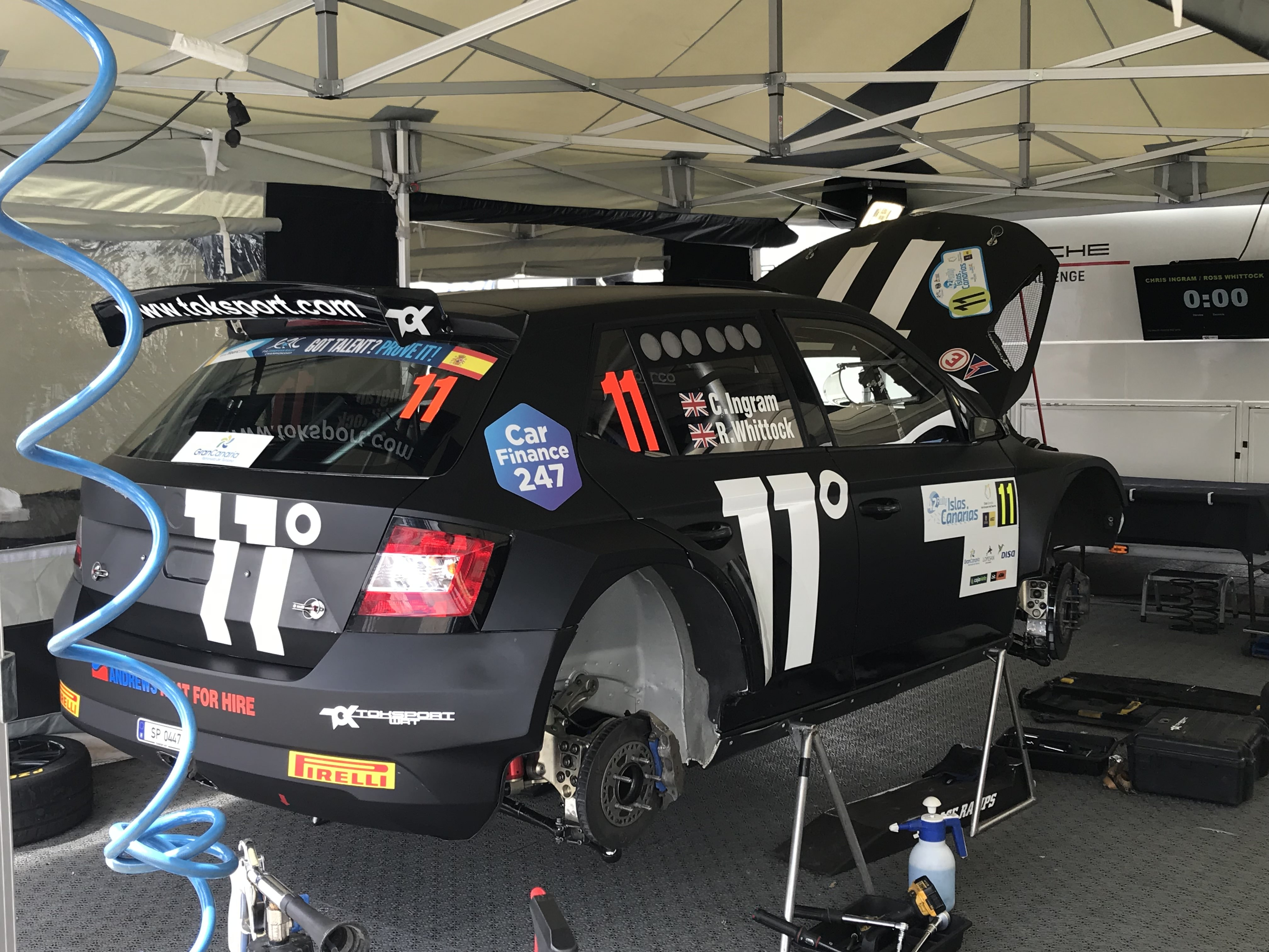 rear view of Chris Ingram's Skoda Fabia R5