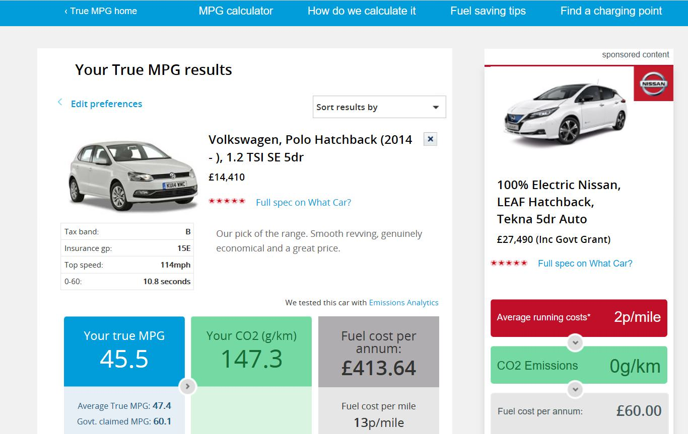image of a website displaying the mpg of various cars