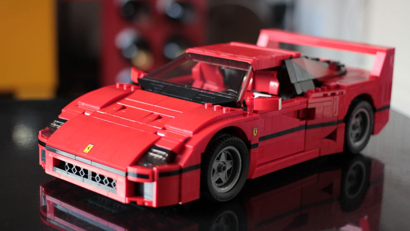 A red Ferrari built out of lego