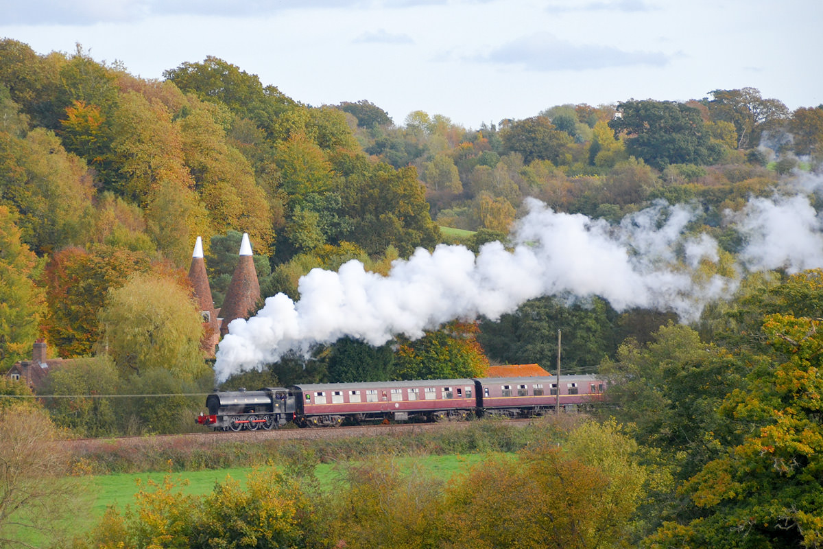 steam engine train in motion
