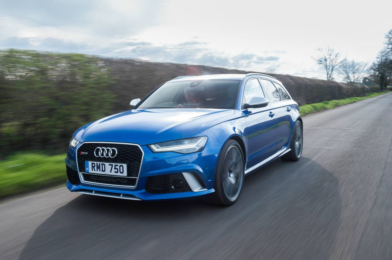image of a blue audi rs6 quattro estate car exterior