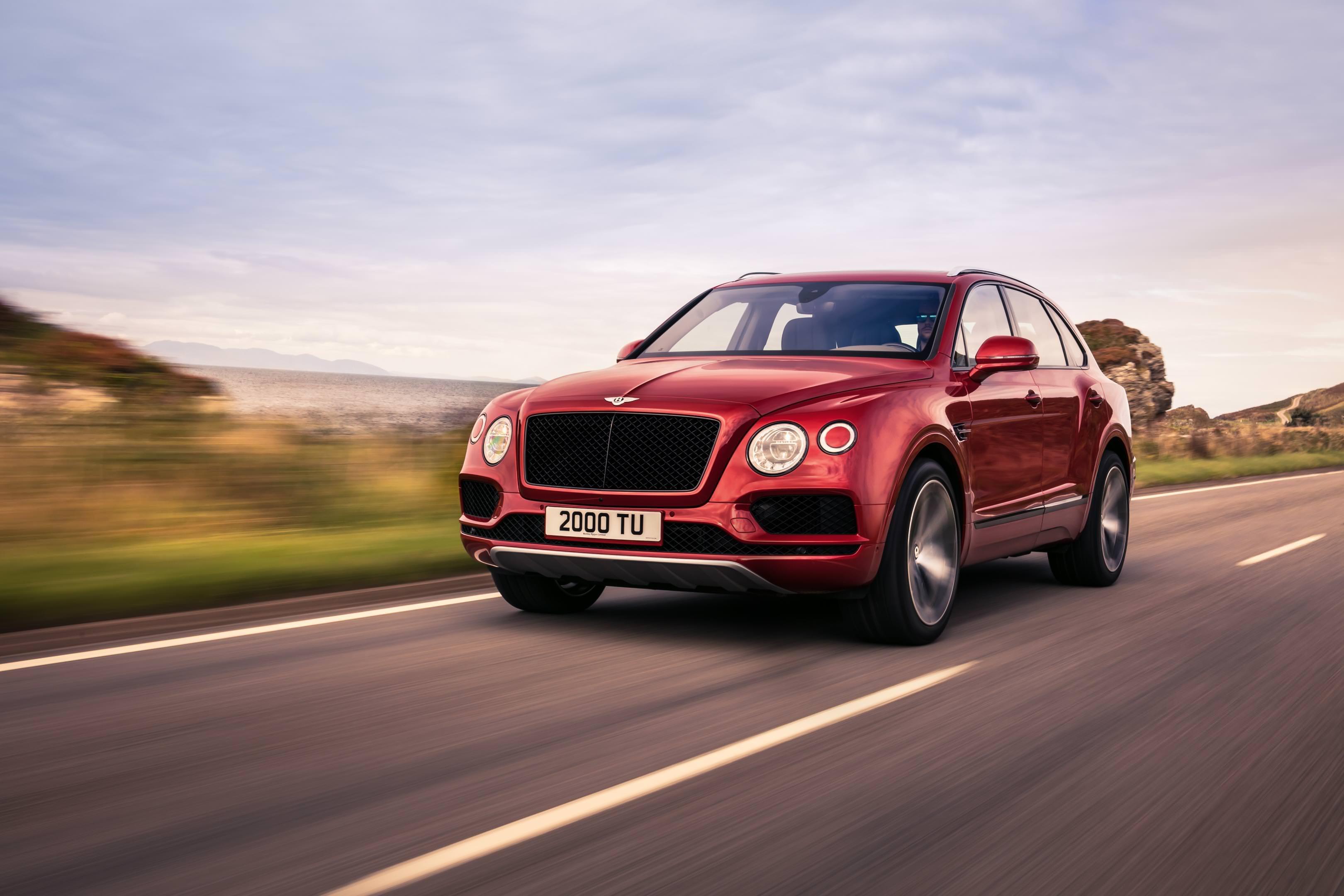image of a red bentley bentayga car exterior