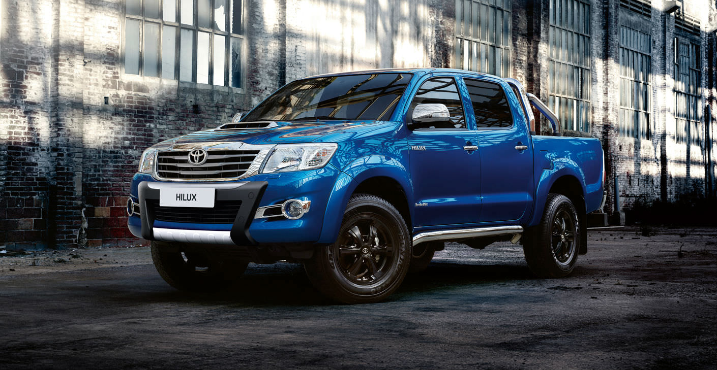 image of a blue toyota hilux car exterior