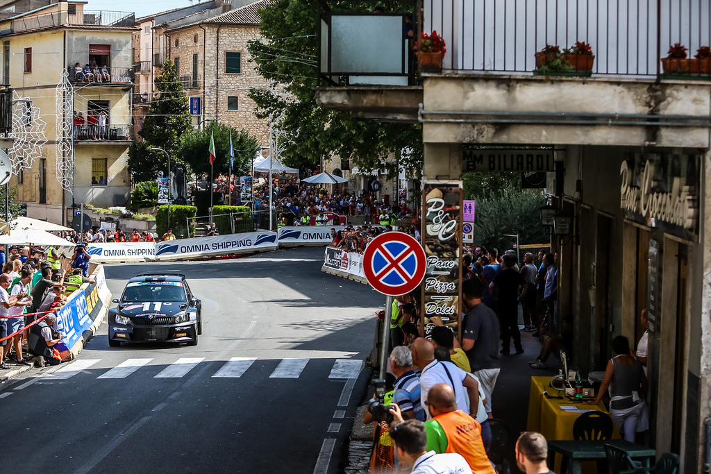 image of chris ingrams rally car crossing finish line in rome