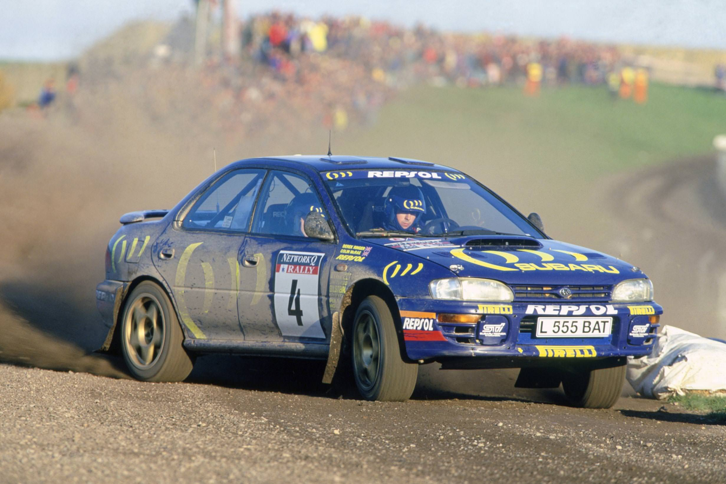 /Colin McRae sideways in Subaru Impreza 1995 Rally GB