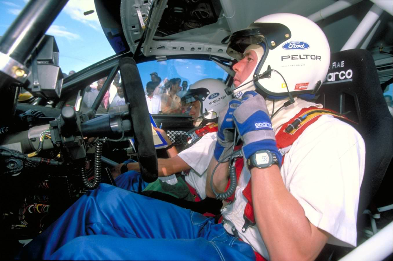 Colin McRae inside his Subaru Impreza