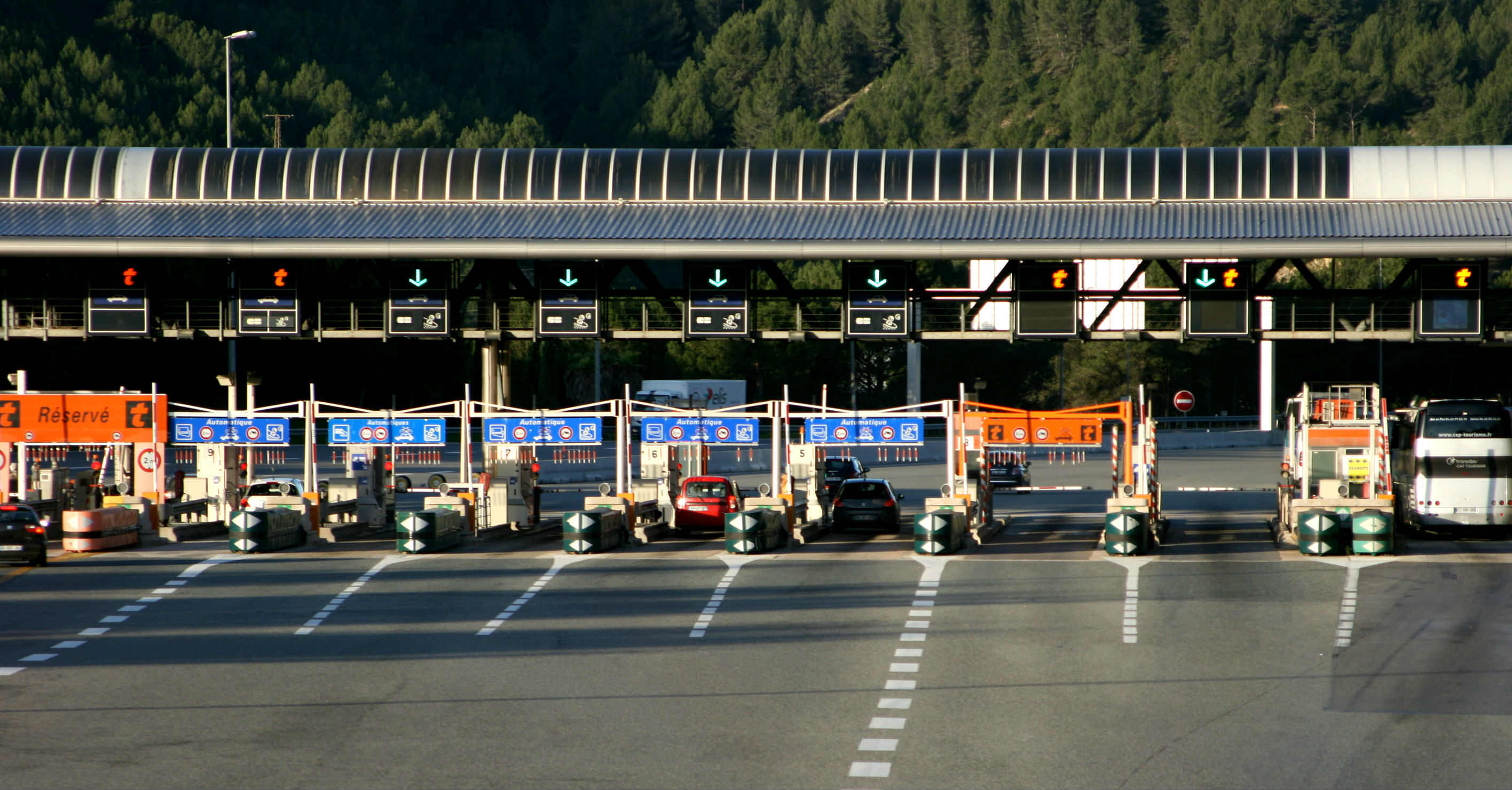 Driving trip to France - toll booth