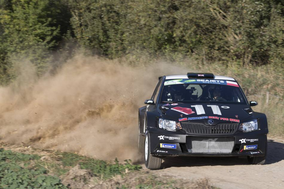 Chris Ingram's Matt Black Skoda Fabia R5 at Rally GB