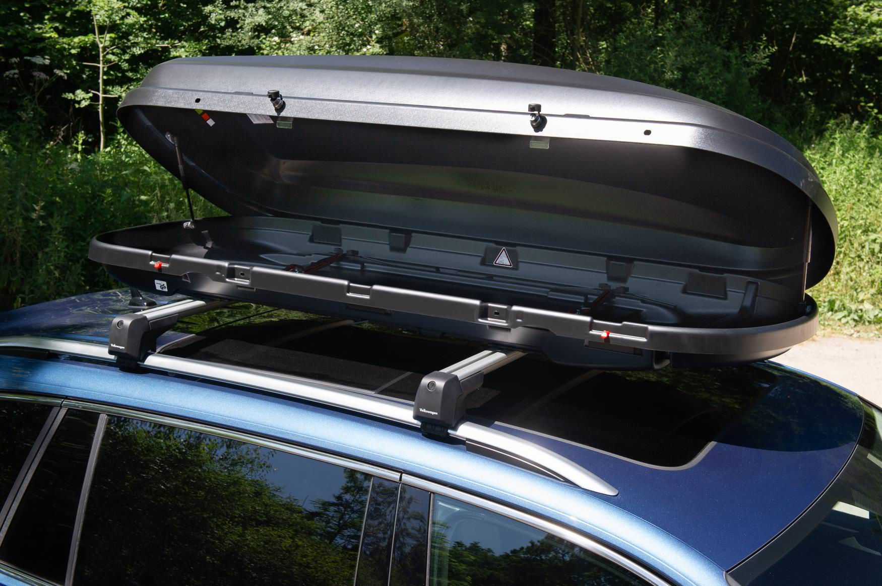 Roof box provides extra storage and can be fitted on most cars