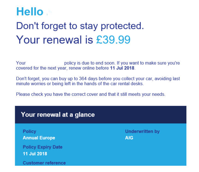 excess renewal offer