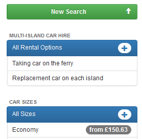 Multi island car hire filter