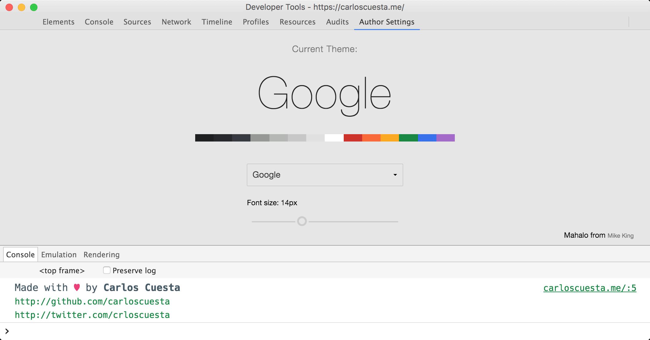Chrome DevTools customization with DevTools Author | Carlos Cuesta