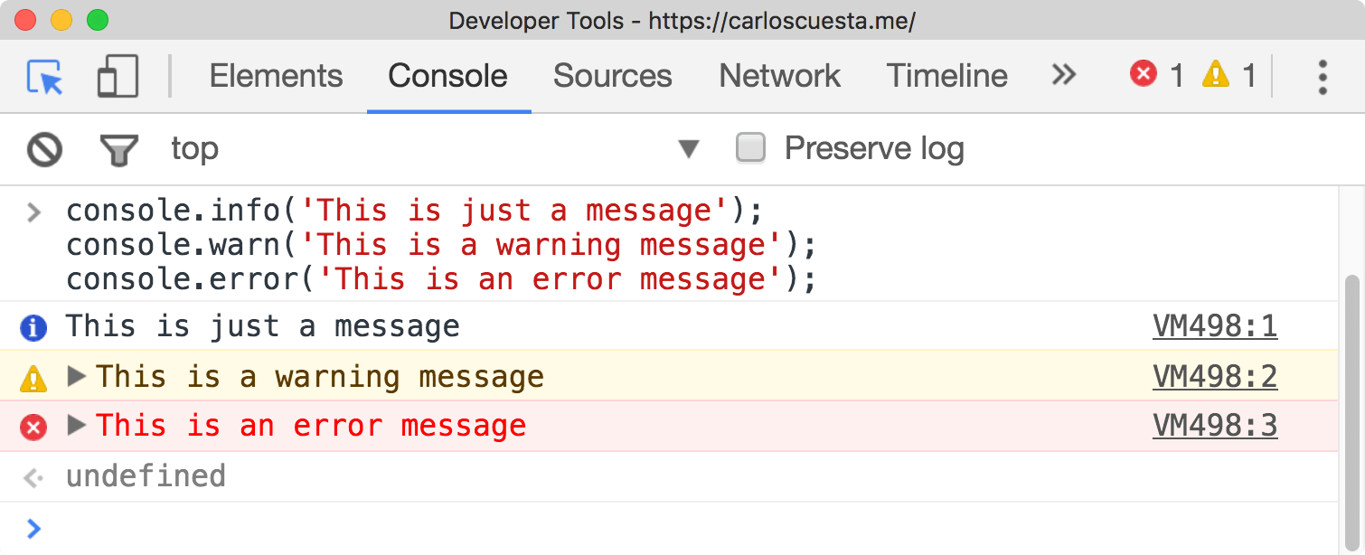 javascript console log error warn