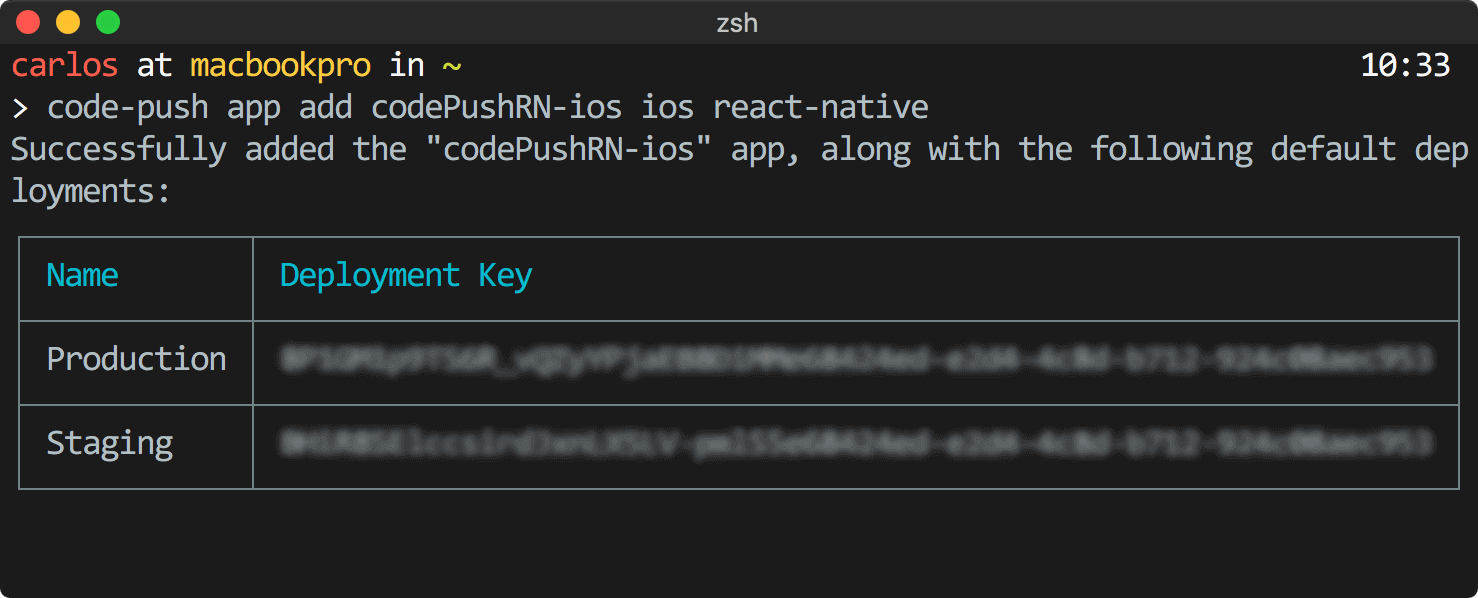 CodePush add app deployment keys