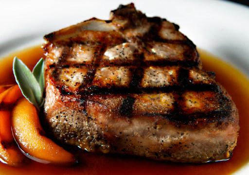 Carlton Farms Pork Chops and Peaches with a Peach Gastrique