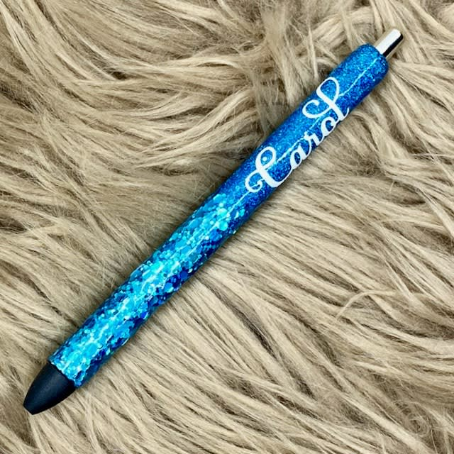 Blue Glitter Pen Personalized with name on it.