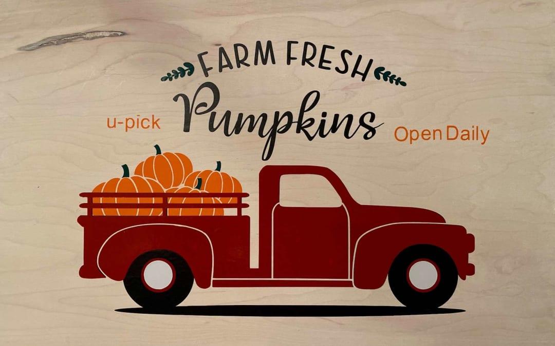 Pumpkin Red Truck Wooden Sign