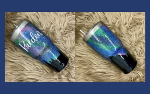 Northern Lights Glitter Tumbler Personalized