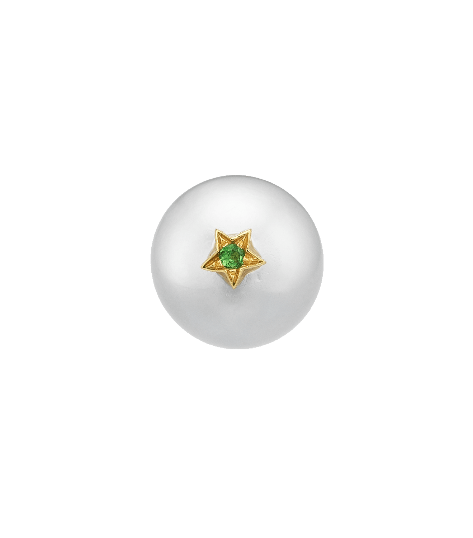 Carolina Bucci Superstellar Pearl Stud with Small Pavé Star