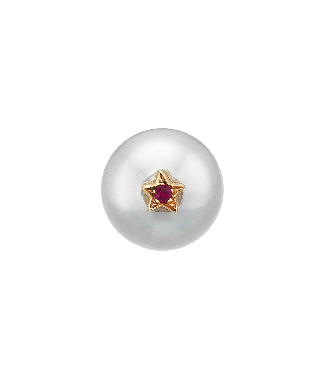 Carolina Bucci Superstellar Pearl Stud with Small Pavé Star Yellow Gold