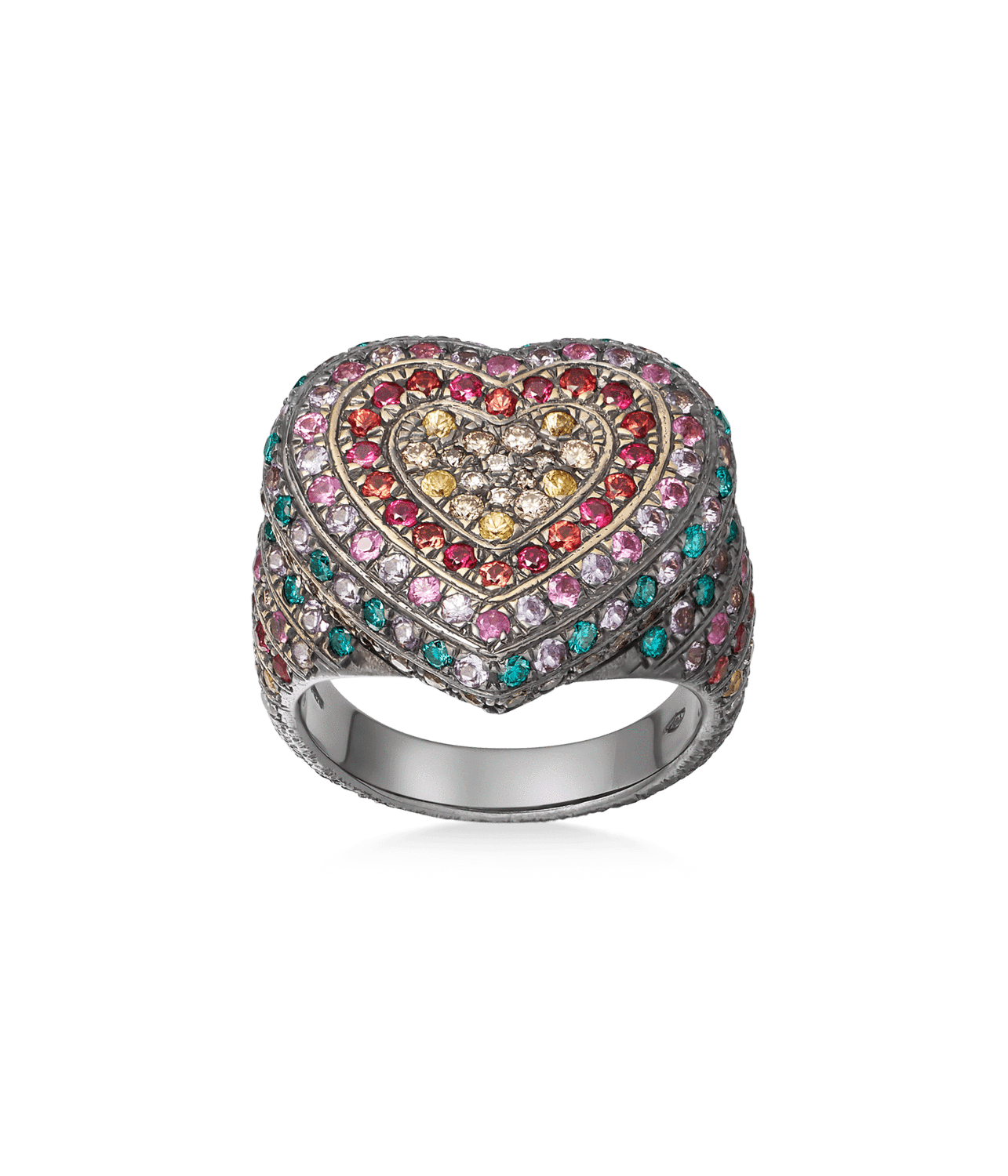 Carolina Bucci Rainbow Pavé Heart Ring in 18k Black Gold