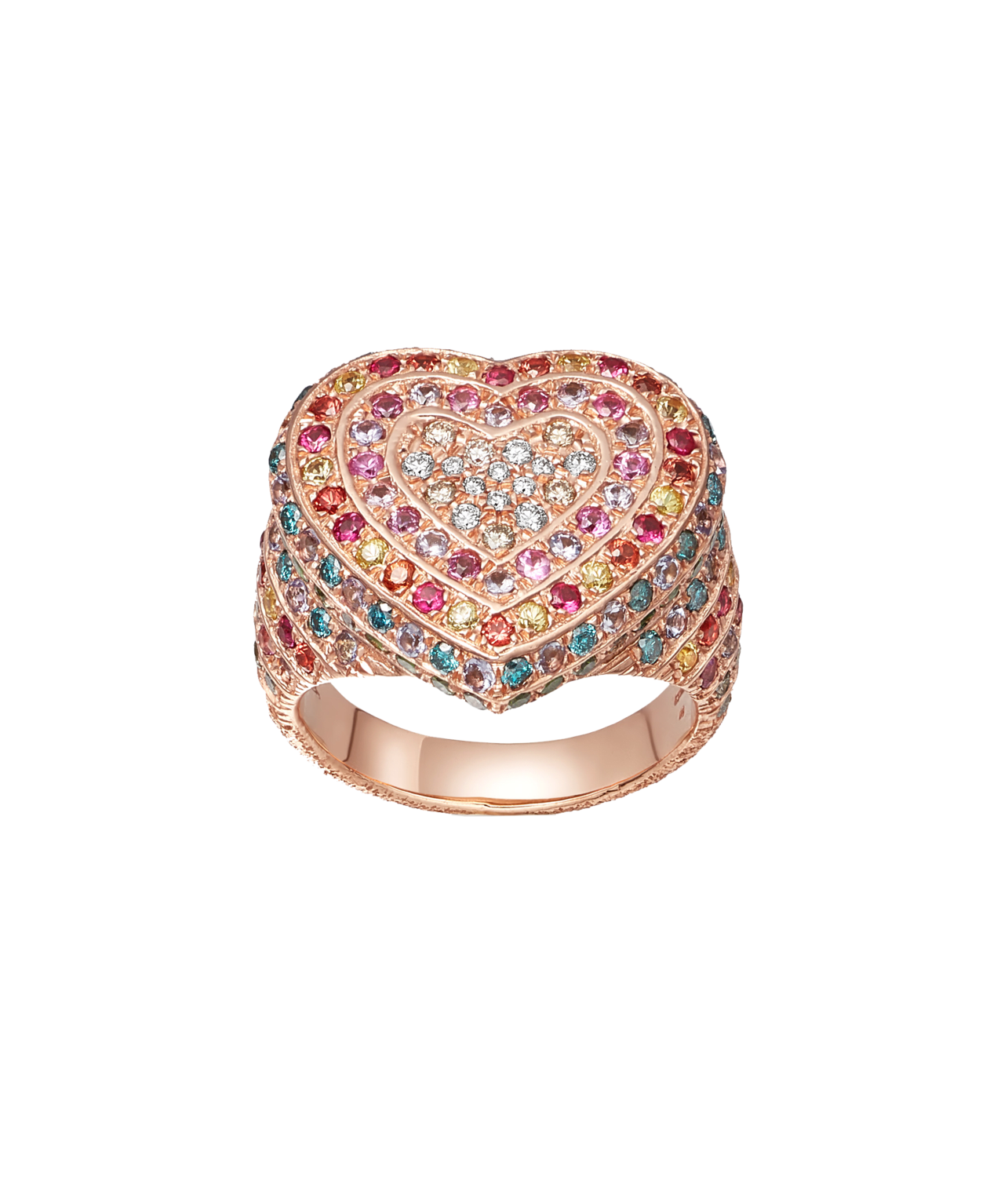 Carolina Bucci Rainbow Pavé Heart Ring in 18k Pink Gold