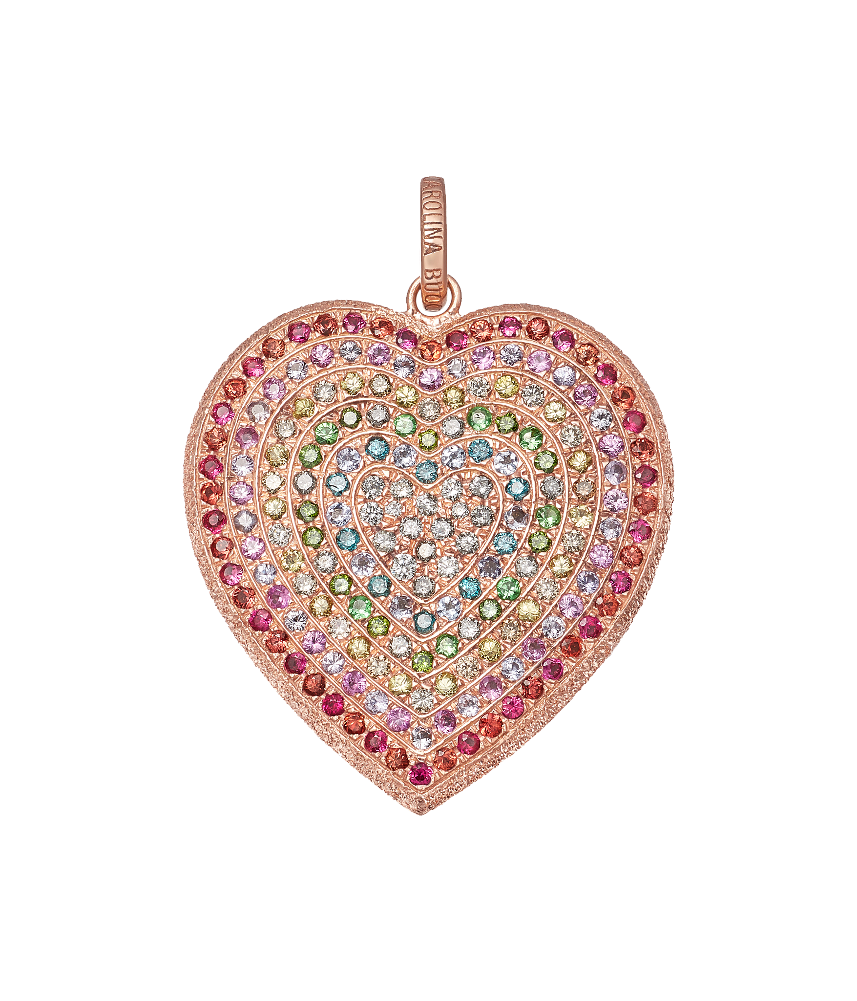 Carolina Bucci Rainbow Pavé Heart Pendant in 18k Pink Gold