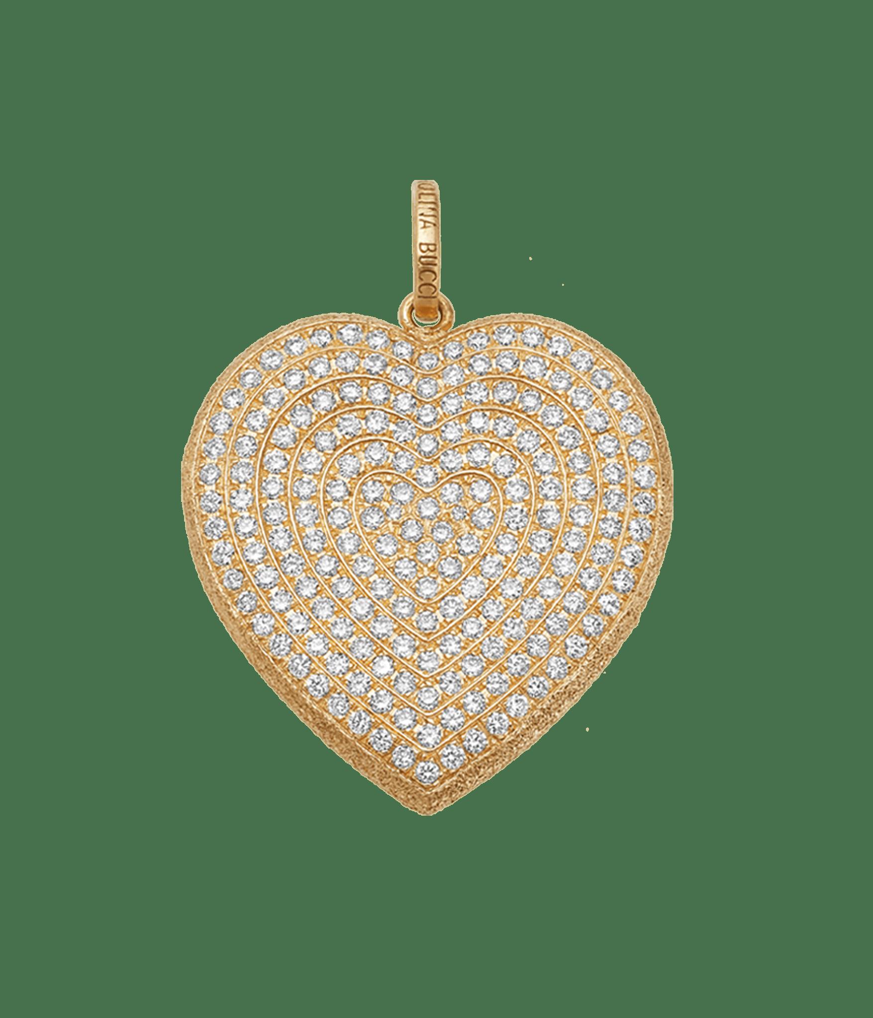 Carolina Bucci Diamond Pavé Heart Pendant in 18k Yellow Gold