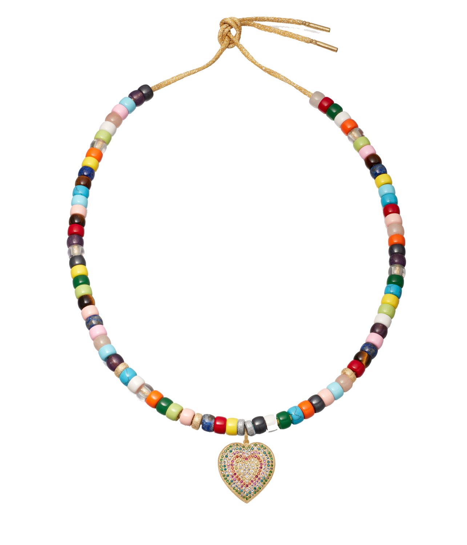 Carolina Bucci Rainbow Forte Beads Cuore Pavé Pendant Necklace