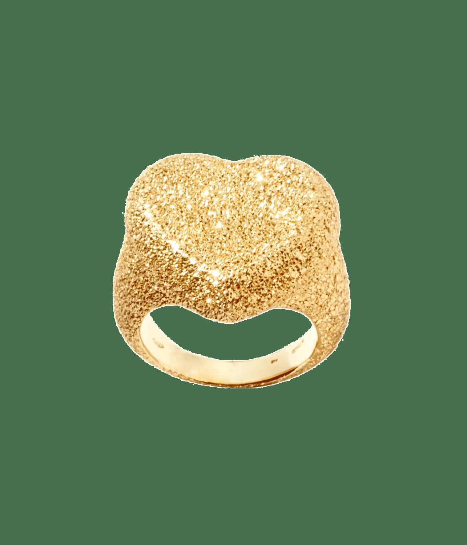 Carolina Bucci Cuore Heart Ring Florentine Finish Yellow Gold