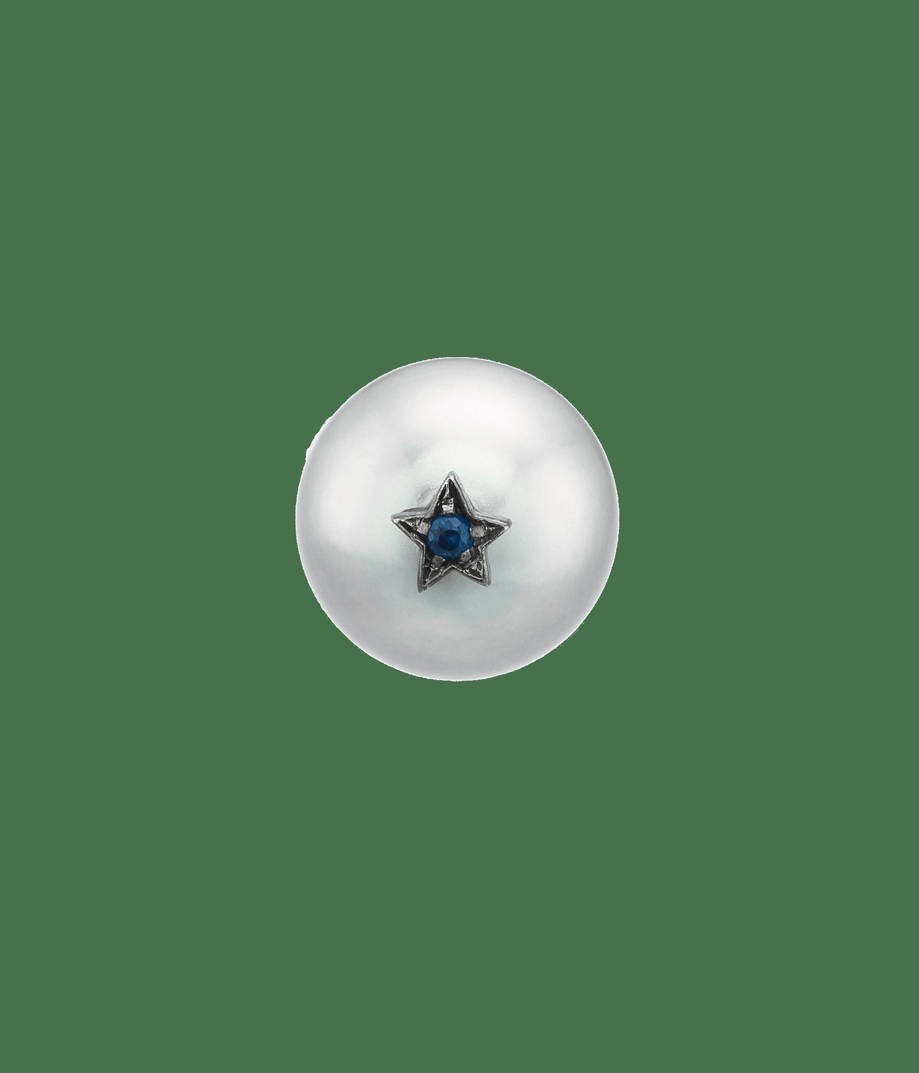 Carolina Bucci Superstellar Pearl Stud with Small Pavé Star Black Gold
