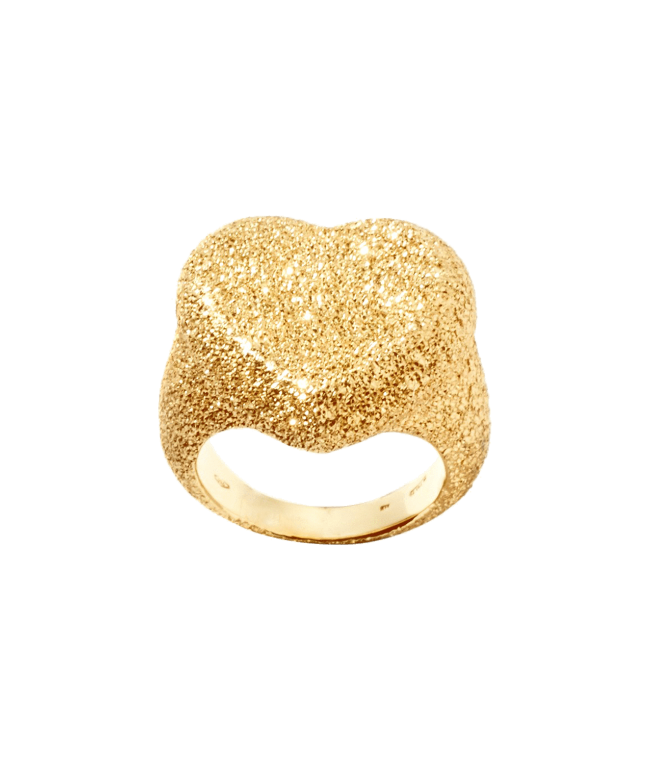 Carolina Bucci Cuore Heart Ring Florentine Finish Yellow Gold