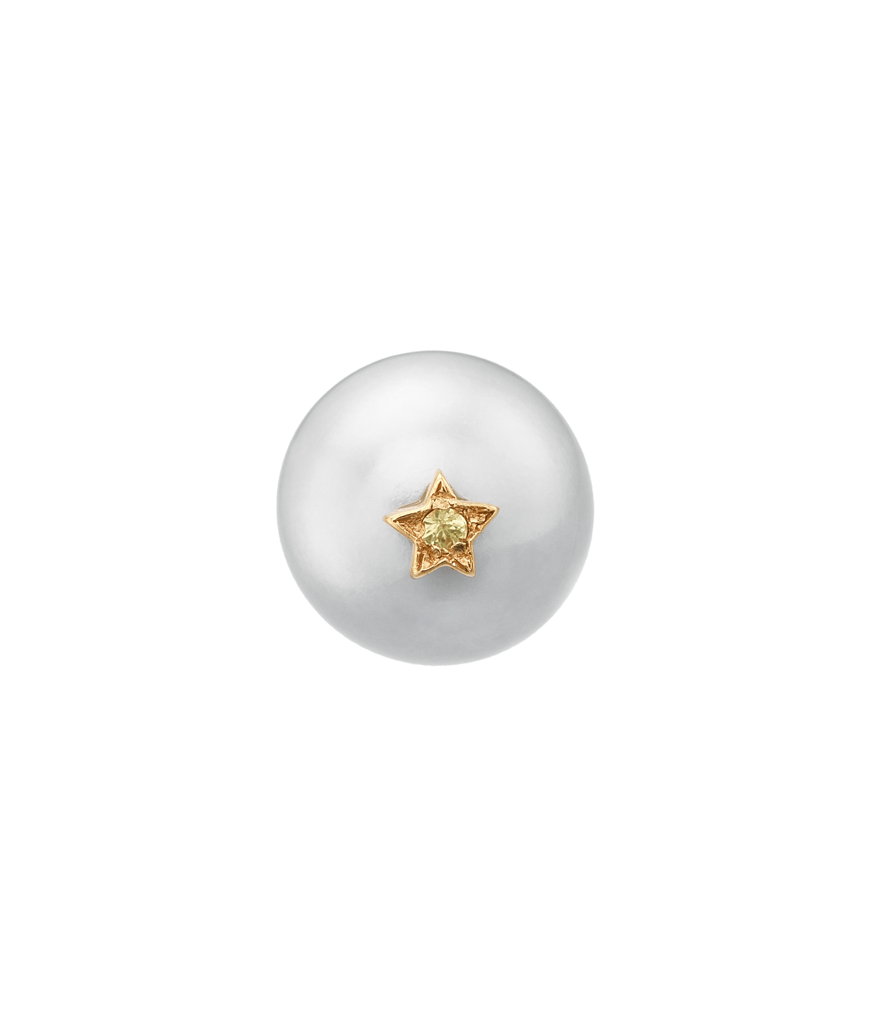 Carolina Bucci Superstellar Pearl Stud with Small Pavé Star Pink Gold