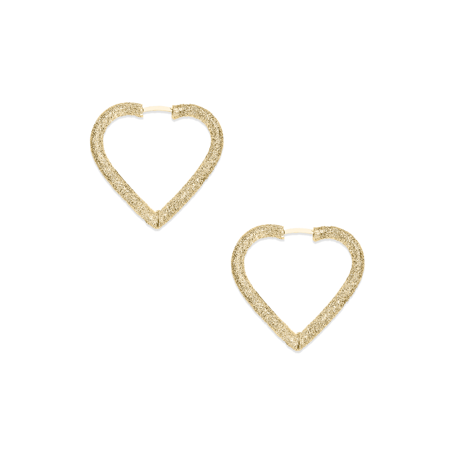 Small heart shape hoop earrings in yellow gold