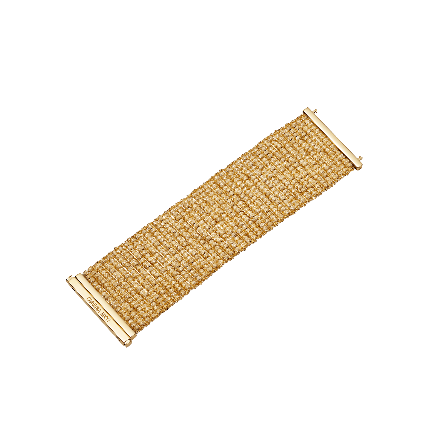 yellow gold beaded woven bracelet