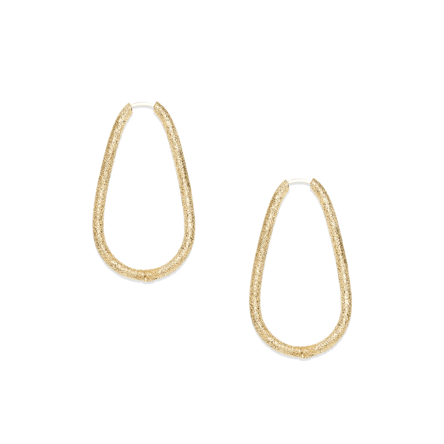 Large drop shaped hoop earrings in yellow gold