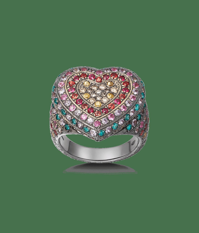 Carolina Bucci Rainbow Pavé Heart Ring in 18k Black Gold