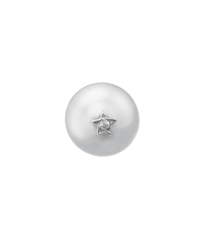 Carolina Bucci Superstellar Pearl Stud with Small Pavé Star White Gold