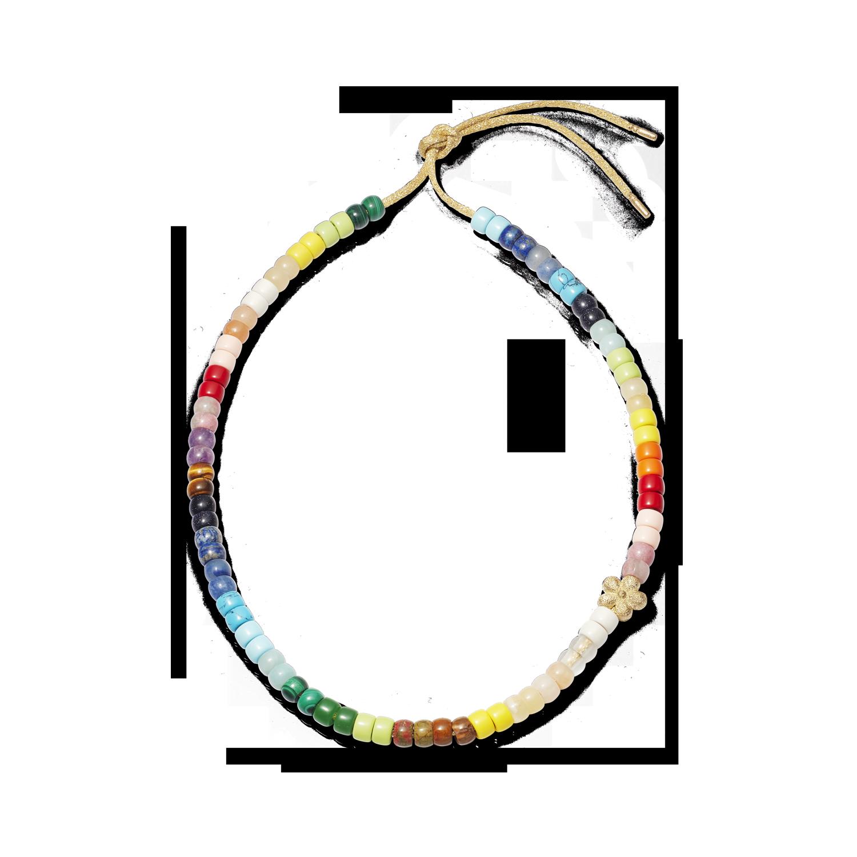 Carolina Bucci Forte Beads Rainbow Necklace with Flower Bead