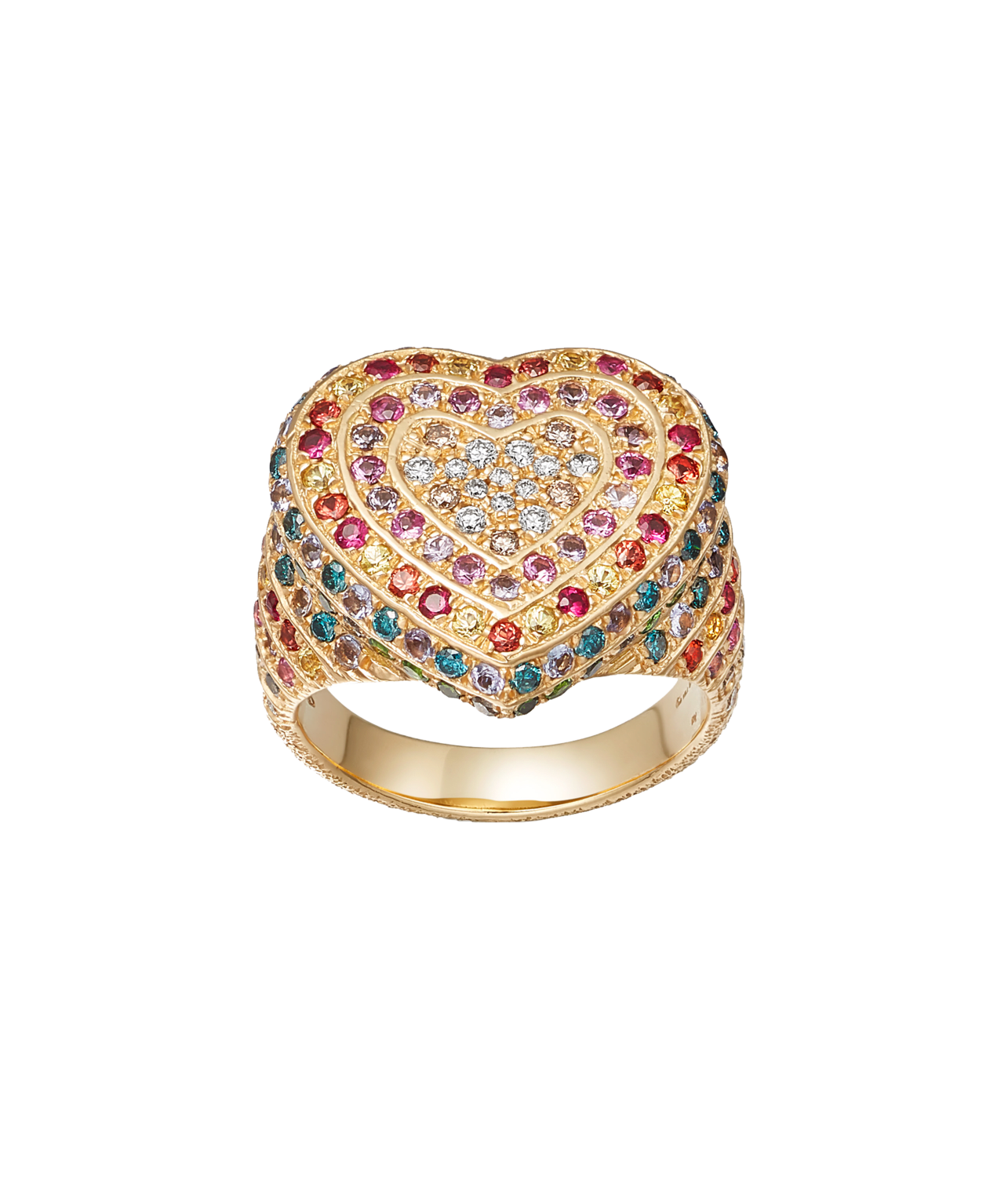 Carolina Bucci Rainbow Pavé Heart Ring in 18k Yellow Gold