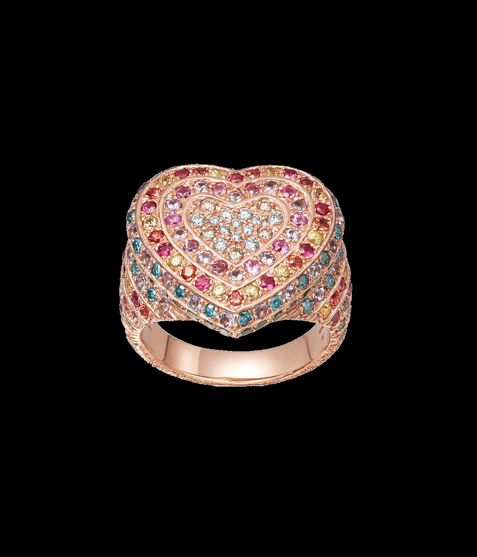 Carolina Bucci Rainbow Pavé Heart Ring in 18k Pink Gold