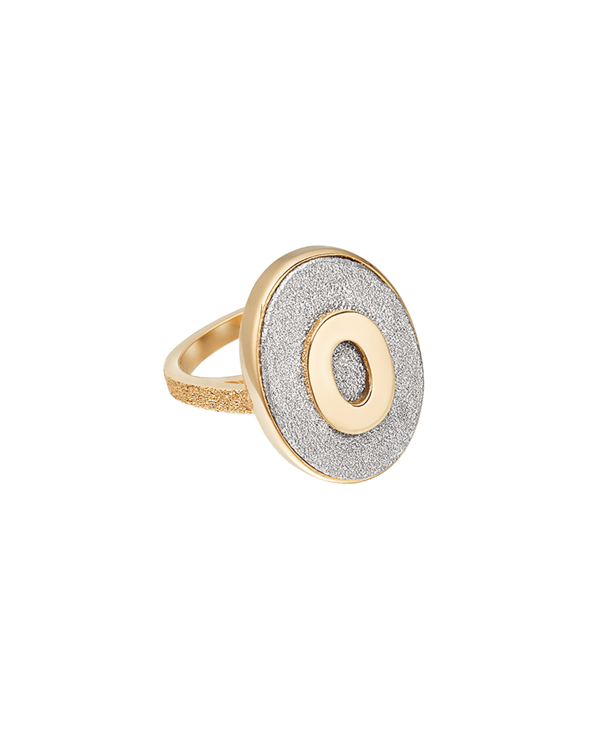 Carolina Bucci Florentine Finish Initial Ring Yellow Gold