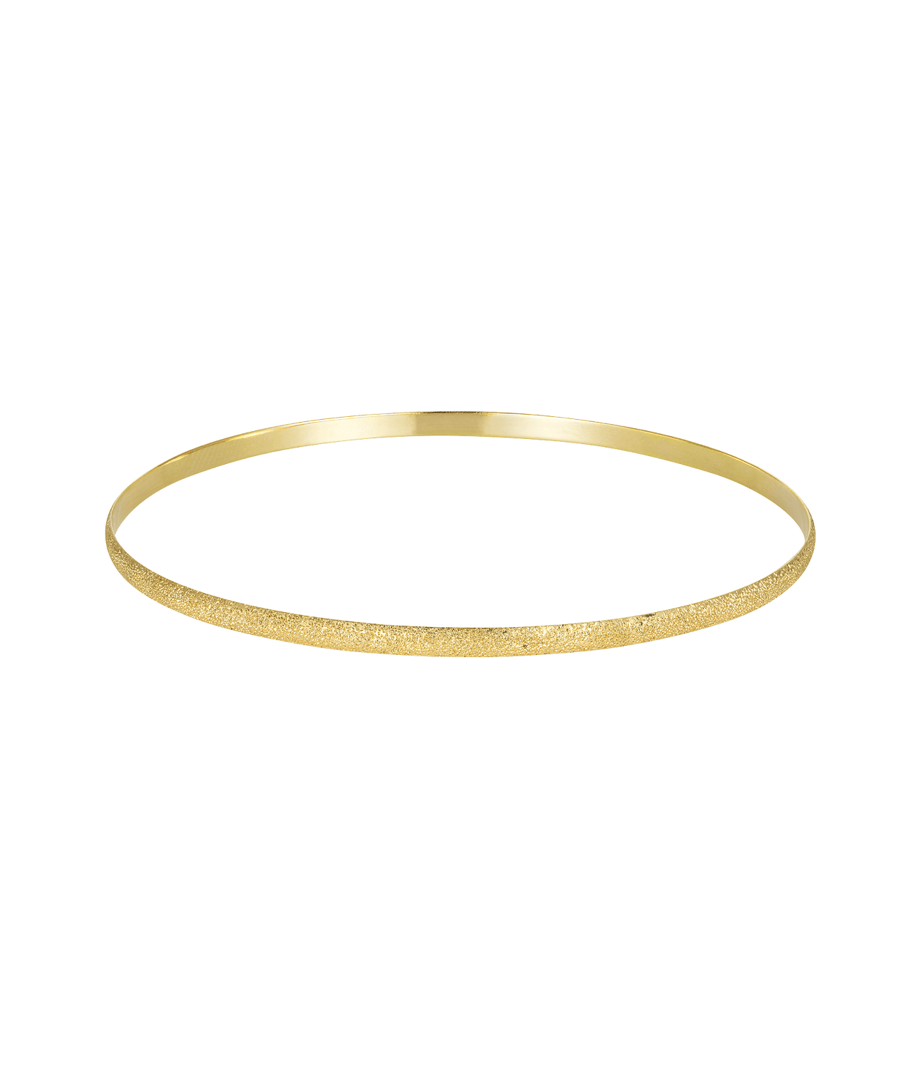 Carolina Bucci Florentine Finish Flat Bangle Yellow Gold