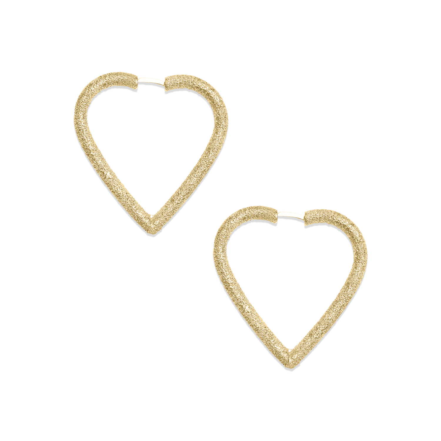 Large heart shape hoop earrings in yellow gold
