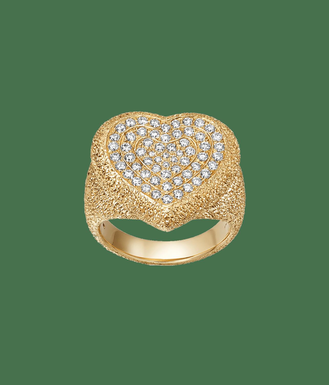 Carolina Bucci Pavé Cuore Ring with White Diamonds